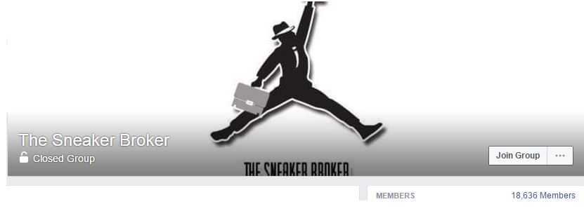"the Facebook group ""The Sneaker Broker"" fro selling sneakers online"