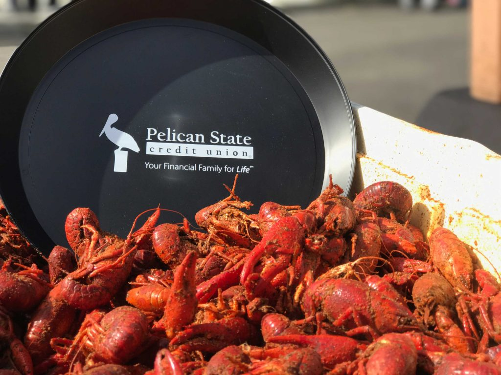 Pelican State Credit Union Tray sitting in Boiled Crawfish in Monroe