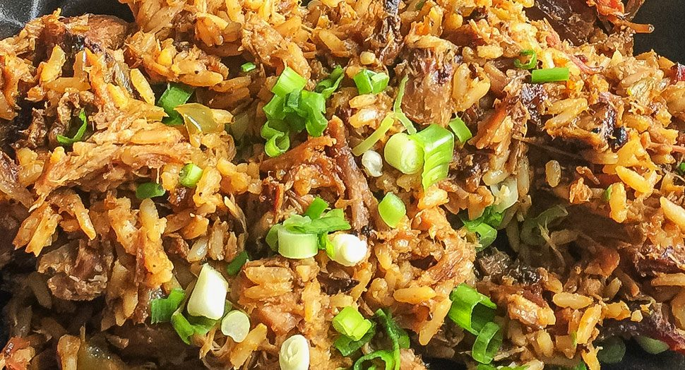 Close-up picture of bbq jambalaya from Louisiana