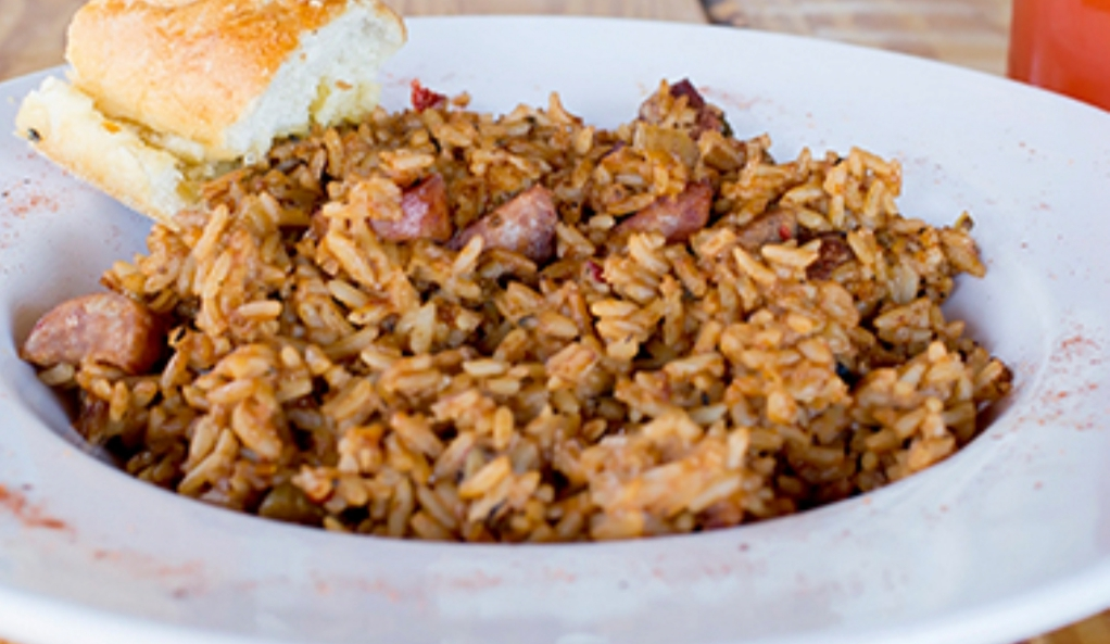 Bowl of Jambalaya from Trapp's on the River in Monroe, Louisiana