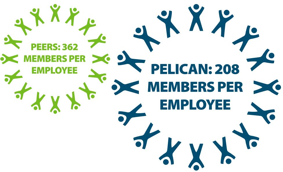 Pelican State CU vs Peers Members per Employee